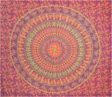 Elephants & camel mandala bedsheet bordeaux orange green and yellow
