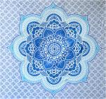 Tenture lotus bleu & bleu clair