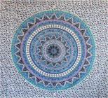 Elephant mandala bedsheet white and blue