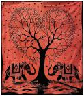 Tree of Life & 2 Elephant Red bedsheet