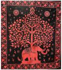 Tree of Life & Elephant Red bedsheet