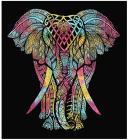 Attaccatura di Parete Elefante  Giallo, Rosa, Turchese
