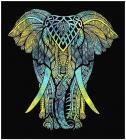 Attaccatura di Parete Elefante  Giallo, Verde, Turchese