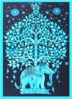 Elephant blue tree of life Mini Bedsheet
