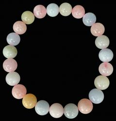 Bracelet Aigue marine & Morganite perles 8mm