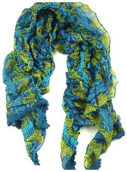 Echarpe coton python élastique pétrole/anis/turquoise