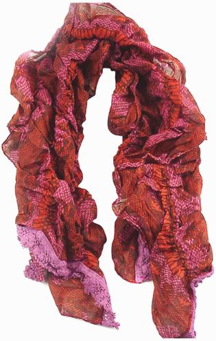 Echarpe coton python élastique rose/rouge