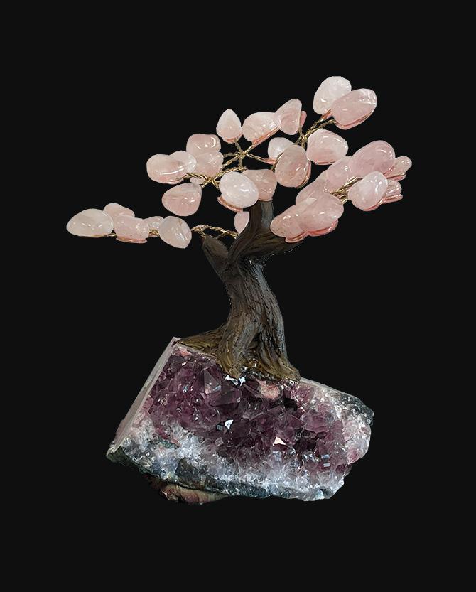 Rose Quartz A Tree of Life on Geode