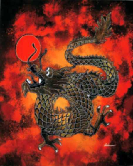Batik dragon petit modèle 45x65 cm