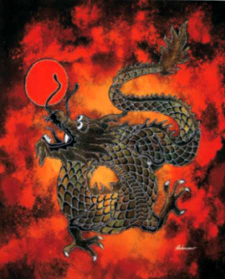 Batik dragon mini 45x45 cm
