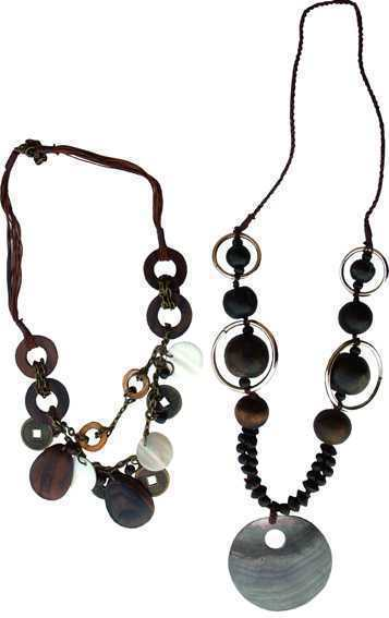 Collier Bois Coin & Shell x2