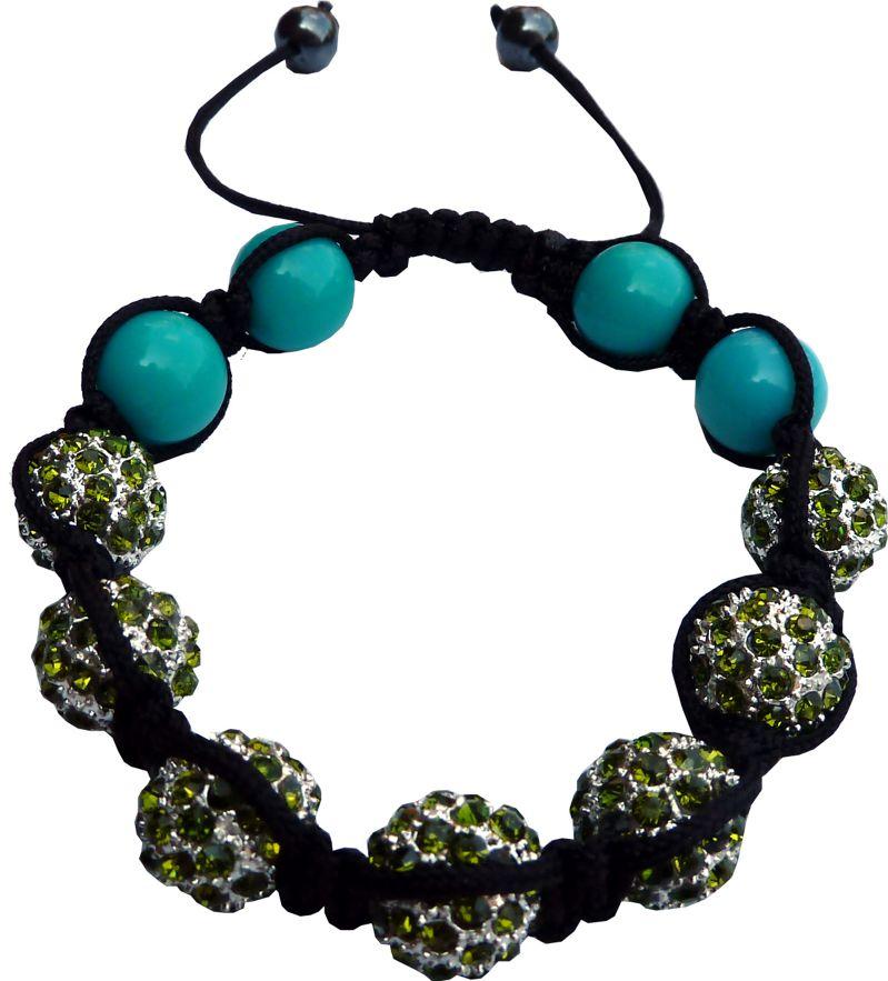 Shamballa 7 pierres vert anis