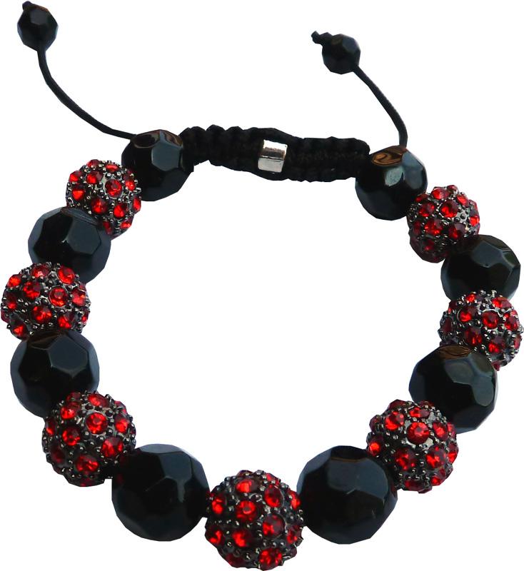 Shamballa 7 pierres rouges & perles noirs
