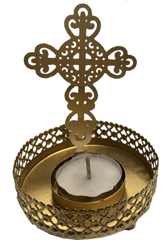 Metal candle holder Cross color copper 9cm