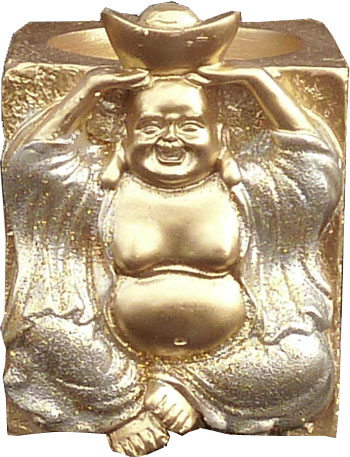 Bougeoir resine bouddha fortune argent 7cm