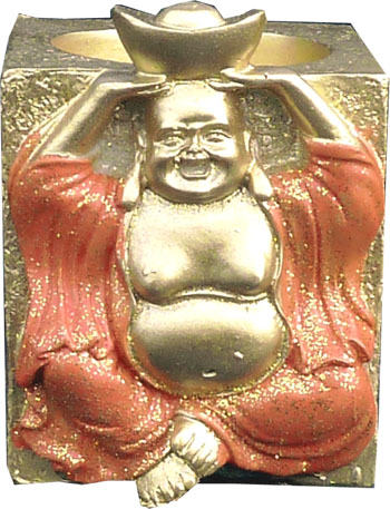 Bougeoir resine lucky bouddha orange 7cm