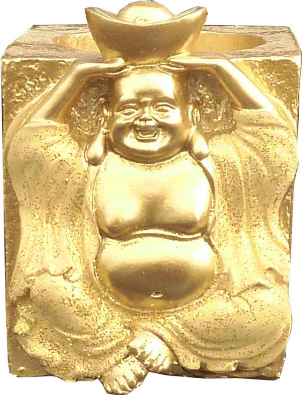 Bougeoir resine bouddha santé or 7cm
