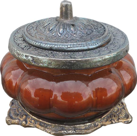 Bougie parfumée patchouli ambre dans un bocal métal & verre