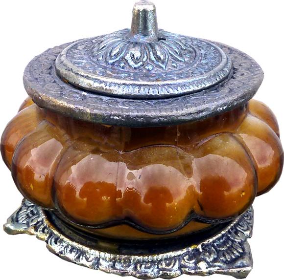 Bougie parfumée opium flower dans un bocal métal & verre