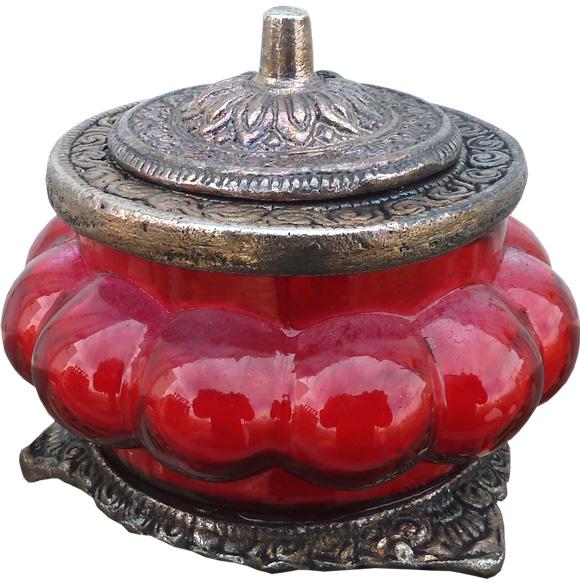 Bougie parfumée rose dans un bocal métal & verre