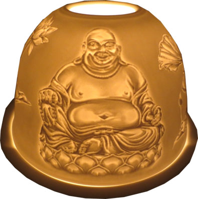 Bougeoir bouddha chinois en résine 12cm