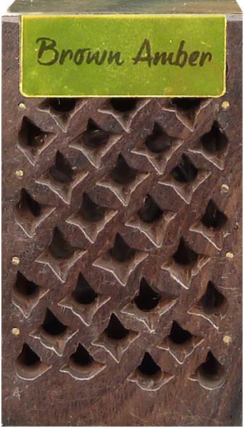 Boite en bois contenant 5g d\'ambre brun