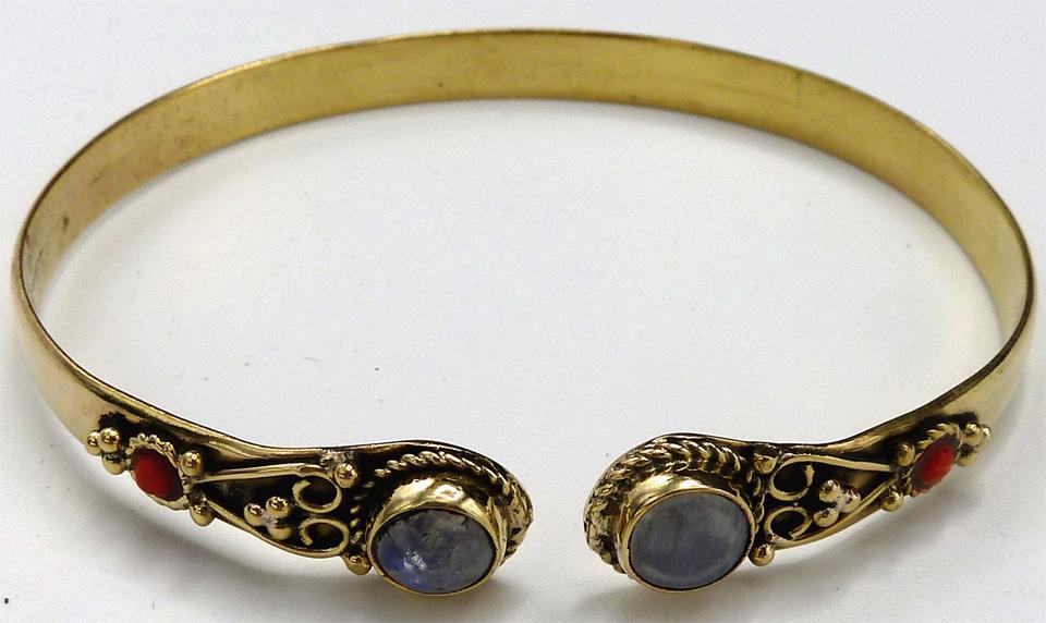 Bracelet bronze double pierre de Lune