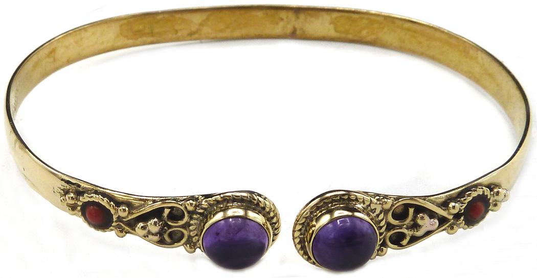 Bracelet bronze double Amethyste