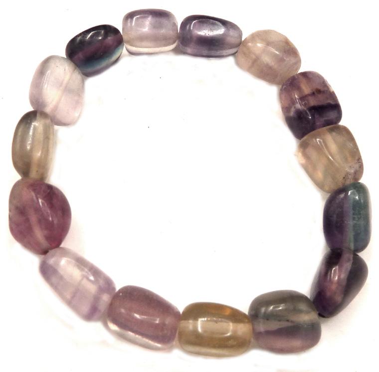 Bracelet pierres roulées fluorite multicolore