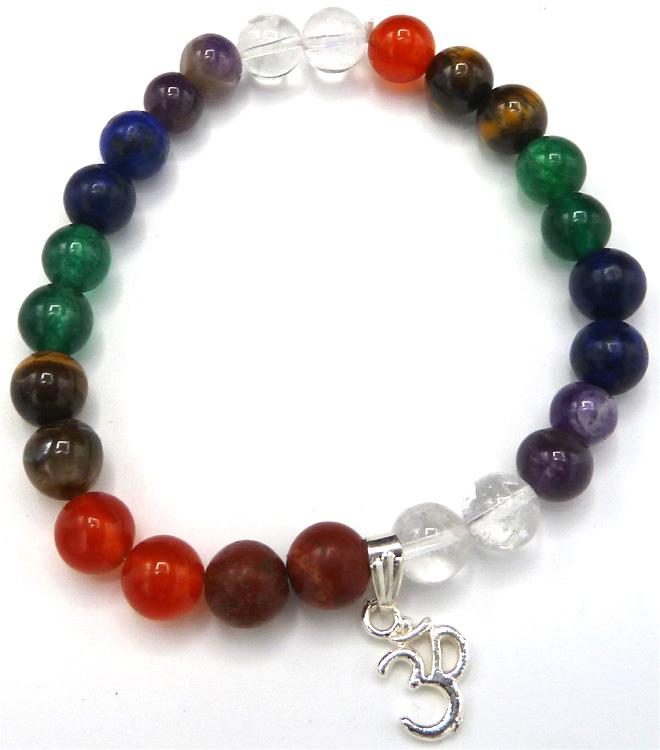 Bracelet 7 chakras perles 8mm & om