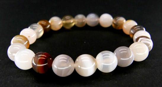 Bracelet Agate Couleurs Mix perles 8mm