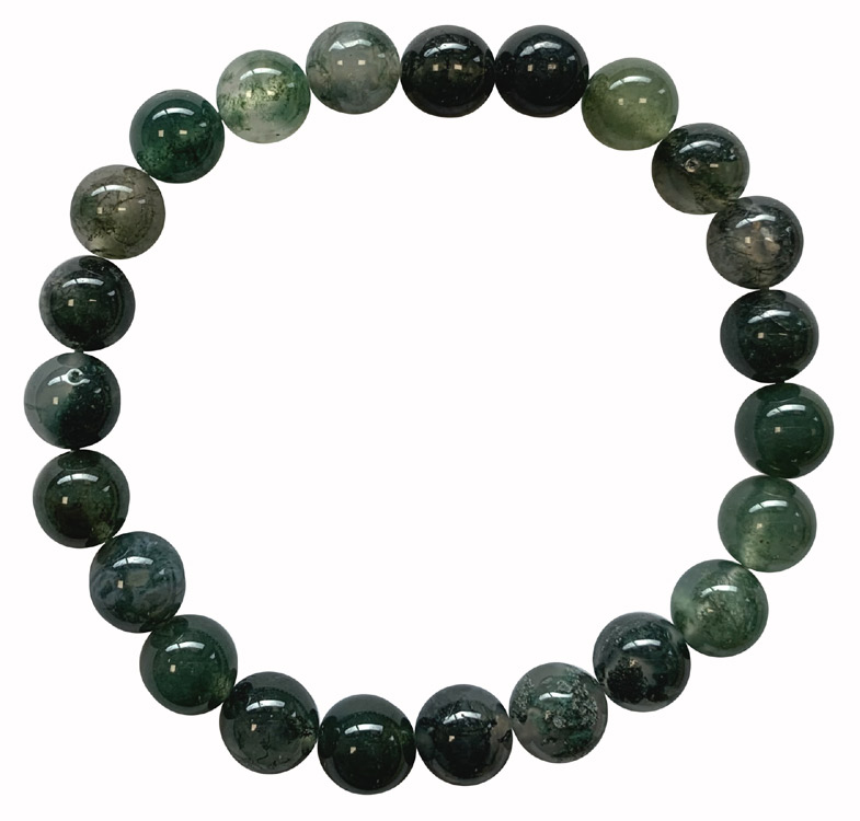Bracelet Agate mousse perles 8mm