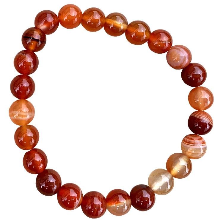 Braccialetto rosso agata perline 8mm