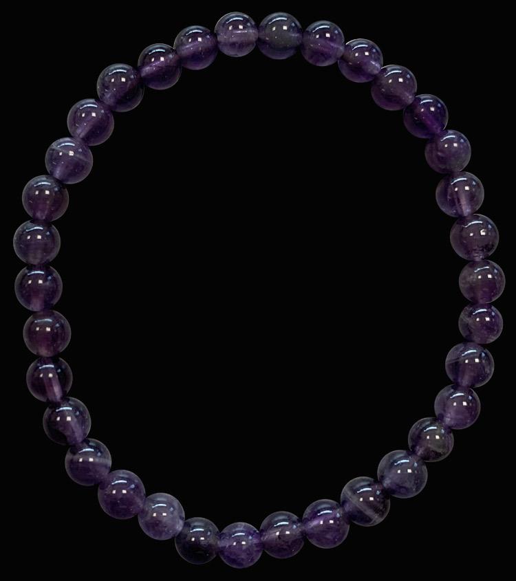 Bracelet Amethyste 'AA' perles 6mm