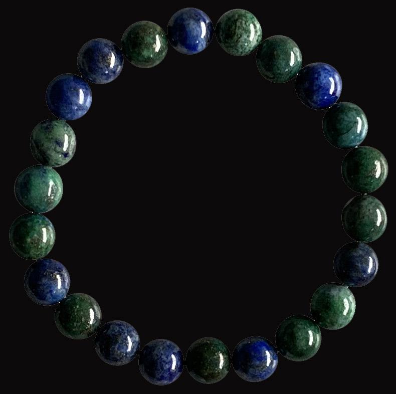 Bracelet Azurite & Malachite perles 8mm