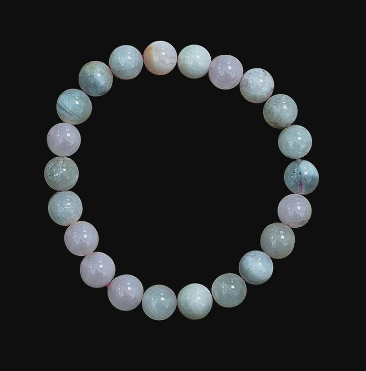 Bracelet Béryls Aigue marine & Morganite  AA perles 8mm