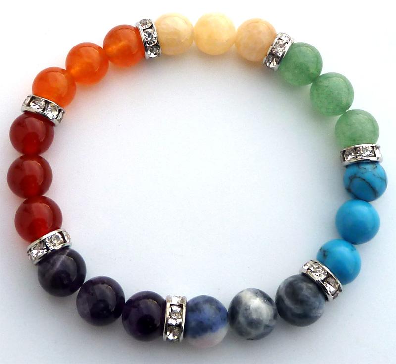 Bracelet 7 chakras anneau et perles 8mm