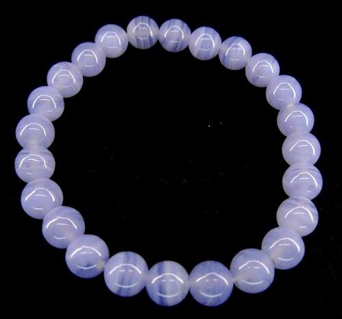 Bracelet Calcédoine bleue perles 8mm