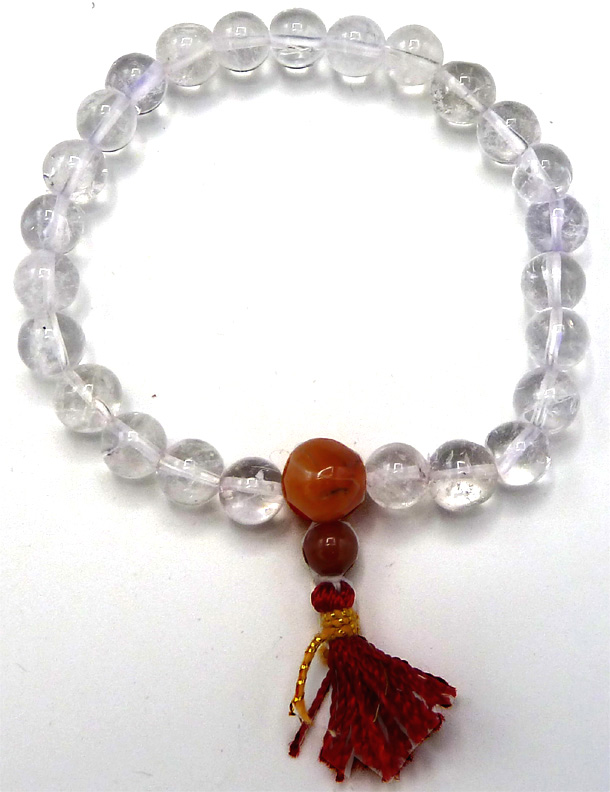 Bracelet Yoga Cristal de roche perles 8mm