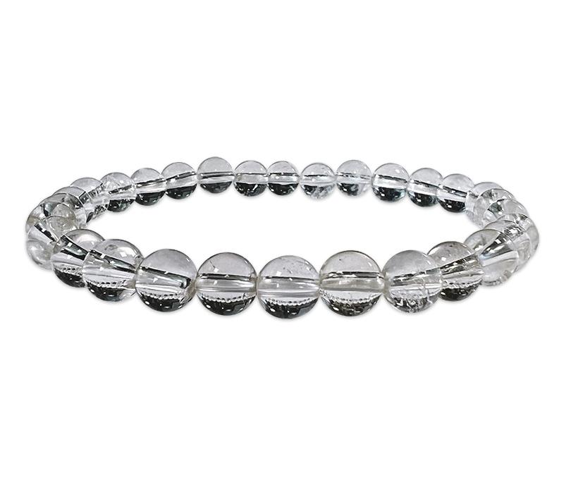 Bracelet cristal de roche perles 6mm