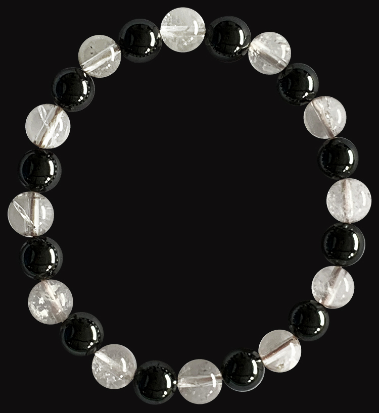 Bracelet Hematite & Cristal de roche perles 8mm