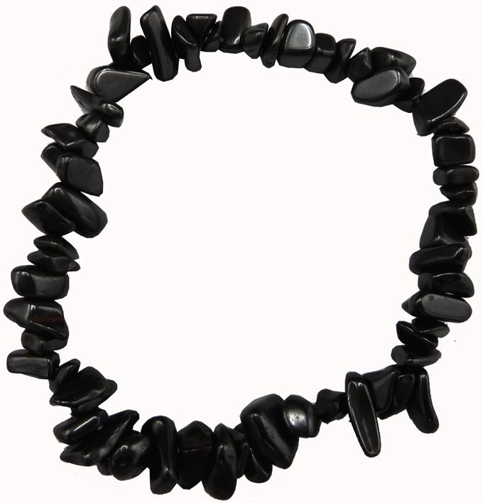 Bracelet chips Hematite sur présentoir 18cm