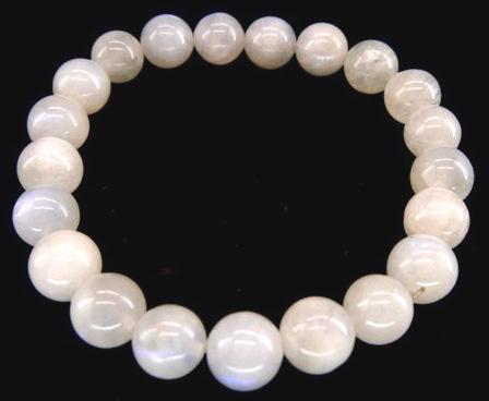 Bracelet pierre de lune blanche AA perles 8mm
