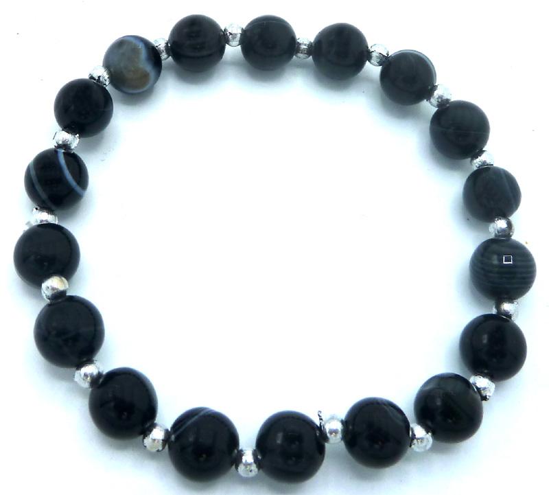 Bracelet Onyx bandé perles 8mm