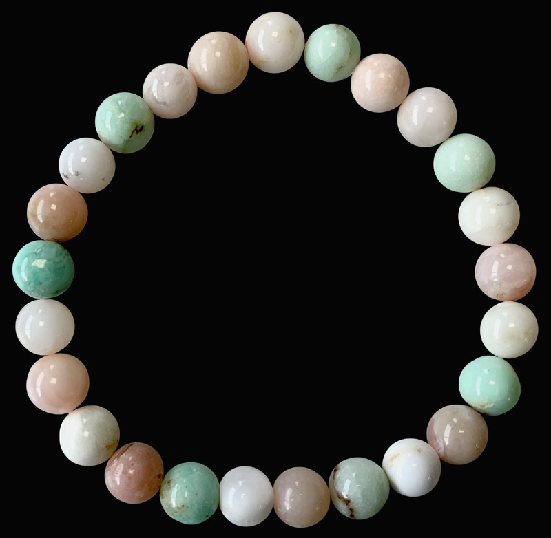 Bracelet Opale rose & Chrysoprase AA perles 8mm