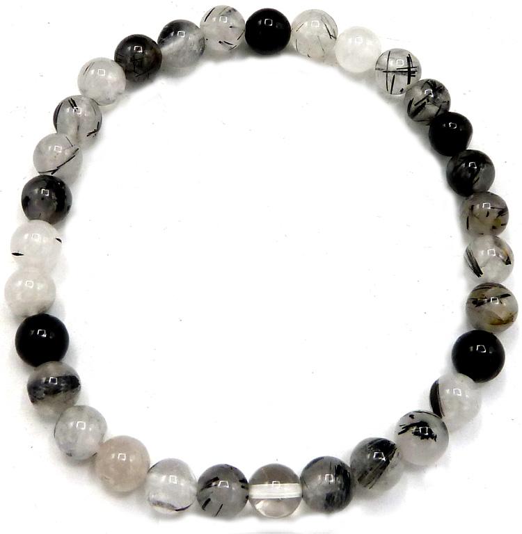 Bracciale quarzo tormalina perles 6mm