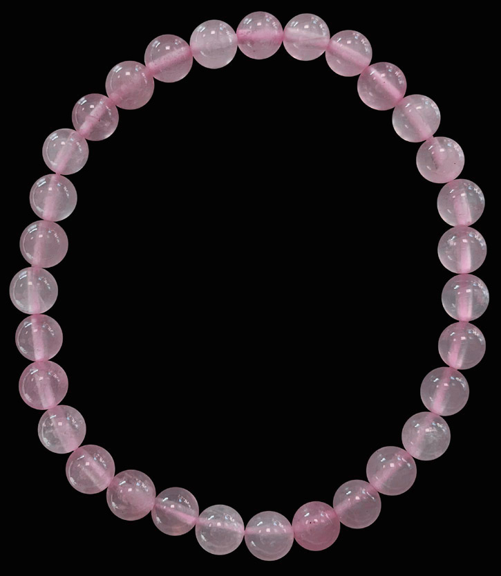 Bracelet quartz rose perles 6mm