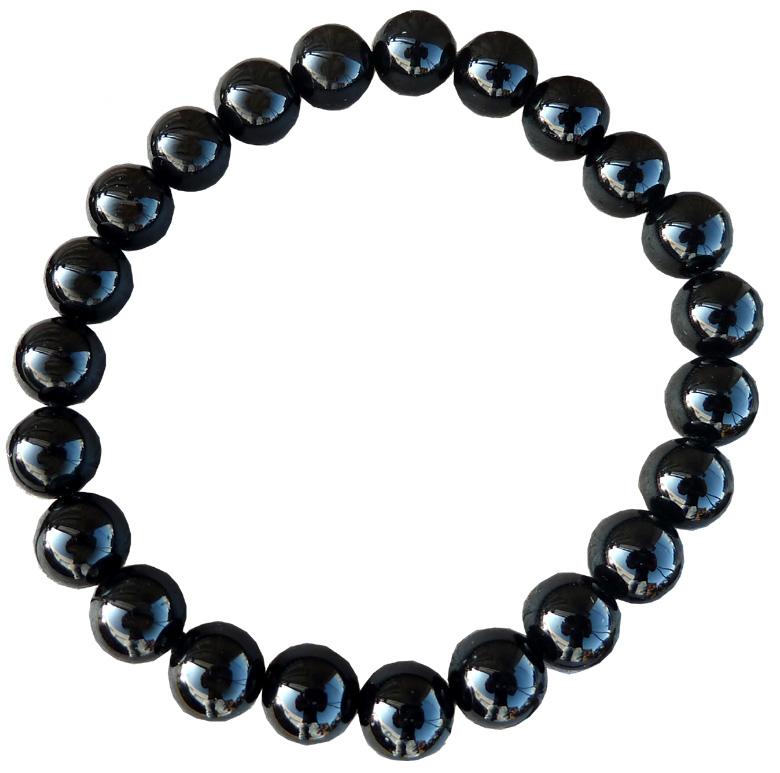 Bracelet tourmaline noire perles 8mm