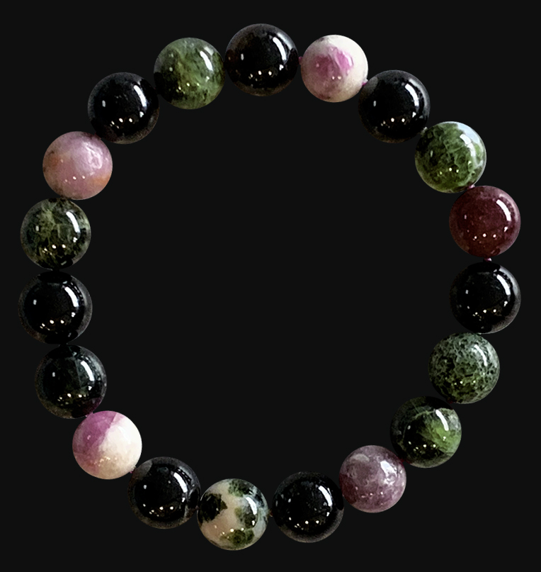 Bracelet tourmaline multicolor extra perles 10mm
