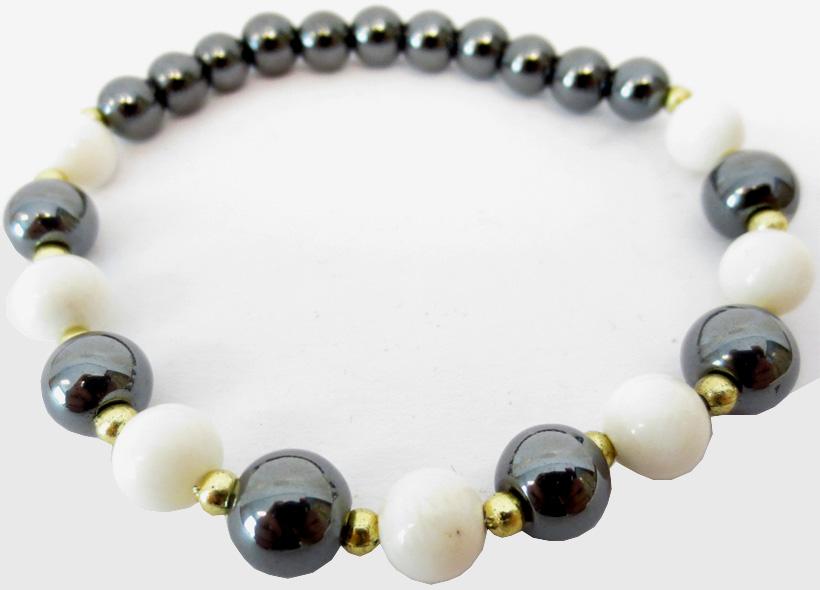 Bracelet Hematite & perles blanches